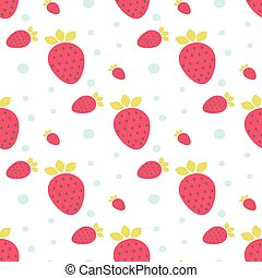 Strawberry seamless vector pattern with dots.