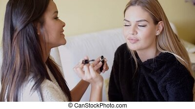 Kind Friend Helping a Woman in Putting Make up - Kind Female...