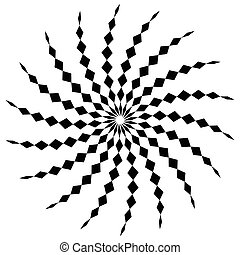 Abstract spiral shape in angular style Monochrome vector art...