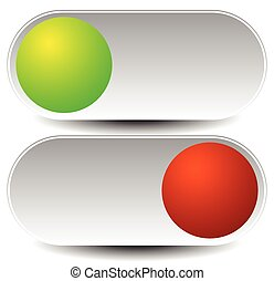 On, off buttons, power switches. Vector illustration.