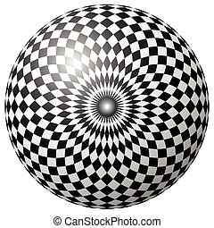 Abstract checkered circle element on white Radiating squares...