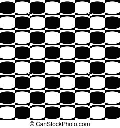 Abstract monochrome geometric pattern with mosaic of oval shapes. Black and white seamlessly repeatable background.