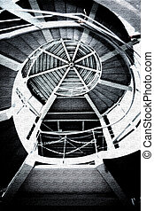 Black and white winding stairs