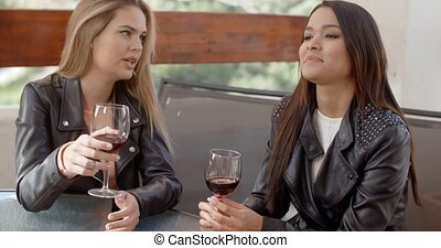 Two beautiful girlfriends sitting on terrace drinking red...