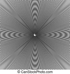 Concentric radiating circles abstract monochrome vector...