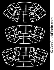 Generic 3d models Abstract wire-frame, polygonal shapes