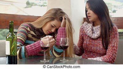 Girl Helping her Depressed Friend at the Cafe - Kind Girl...