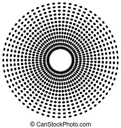 Dotted radial element Abstract monochrome graphic Vector