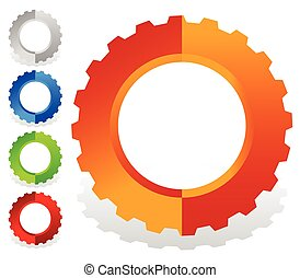 Colorful gearwheel, cogwheel, gear shapes for mechanics,...