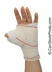 Bandaged hand2 - Bandaged hand isolated over white. Medical...