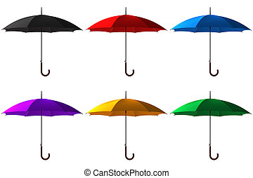 set of open classic color umbrella stick