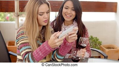 Two Girls Taking Selfie While Holding Wine - Two Pretty...