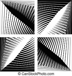 Abstract monochrome background set with intersecting lines...