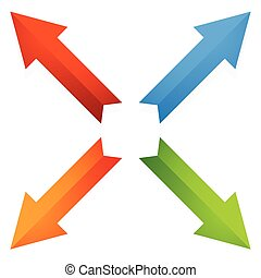 Colorful 4 way diagonal arrows pointing outwards Vector