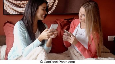 Female friends texting together