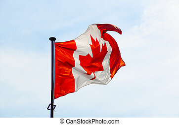 Canadian flag on the blue sky background