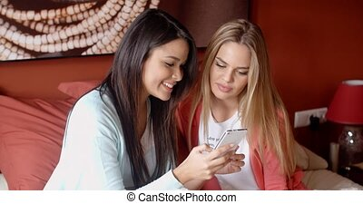 Female friends texting together - Pair of cute happy female...