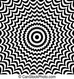 Radial black white lines with deformation. Abstract...