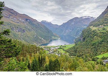 Geiranger - View of the deep valley in mountains. Norway.