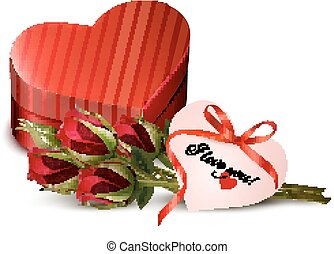 Holiday Valentine`s day background. Red roses with red heart-shaped gift box.