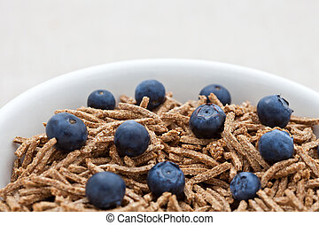 Bran breakfast cereal with blueberries in a dish