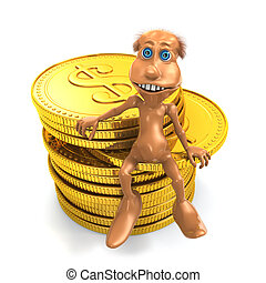 3D toon character with pile of coins