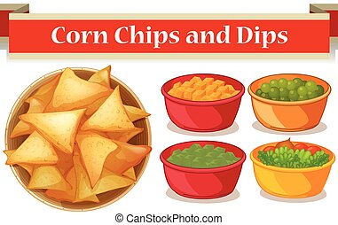 Corn chips and four kind of dips illustration