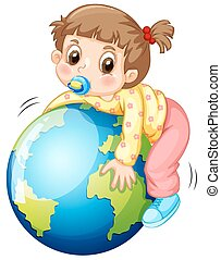 Girl todler hugging the earth illustration