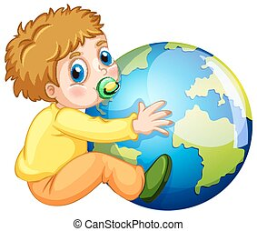 Todler hugging the earth illustration