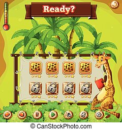 Game template with giraffe in the jungle