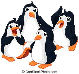 Four penguins with happy face illustration