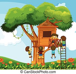 Children climbing up the treehouse in the garden
