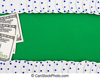 Poker Chip Border - Poker chips making a border on a green...
