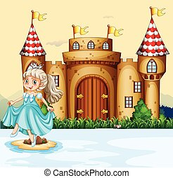 Cute princess at the palace illustration