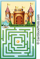 Game template with princess and castle illustration