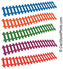 3d colorful railway, railroad tracks isolated on white.