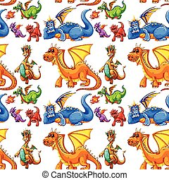 Seamless different type of dragons illustration