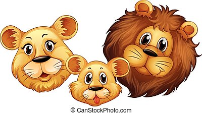 Family of lion with happy face illustration