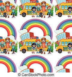 Seamless children standing by the schoolbus illustration