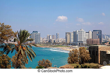 Panoramic view of Tel-Aviv, Israel. - Coastline of the...