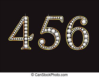 4, 5 and 6 Diamond Jeweled Font