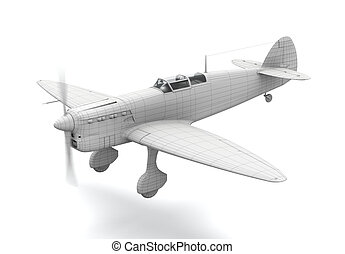 3D airplane model - 3D classic airplane (fighter) model...