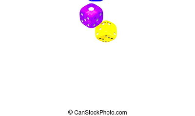 Colorful Dice On White Background 3D render Animation...