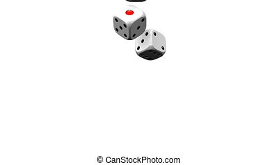 Dice On White Background 3D render Animation Isolated on...