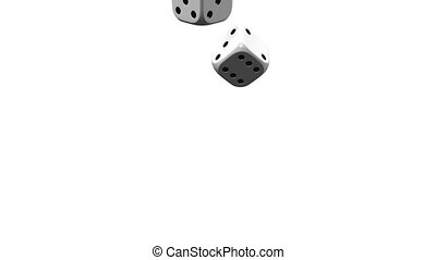 Dice On White Background. 3D render Animation. Isolated on...
