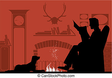 Reading by the fireplace - Silhouettes of a reading man by...
