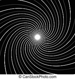 Abstract spiral, vortex background with thin, radiating...