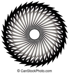 Abstract spirally, twirly shape isolated on white Monochrome...