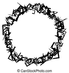 Abstract circular element with scattered overlapping squares...