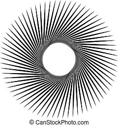 Radiating, radial lines with spiral, vortex effect Rotating...
